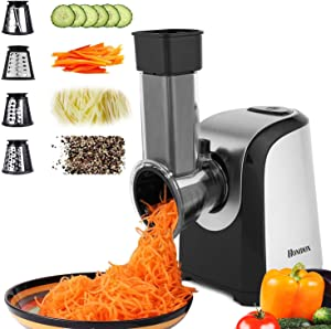Homdox Salad Maker Electric Slicer Shredder Greater Electric Cheese Grater Salad Maker Machine Carrot Slicer with 4 Stainless Steel Rotary Blades, One-Touch Control