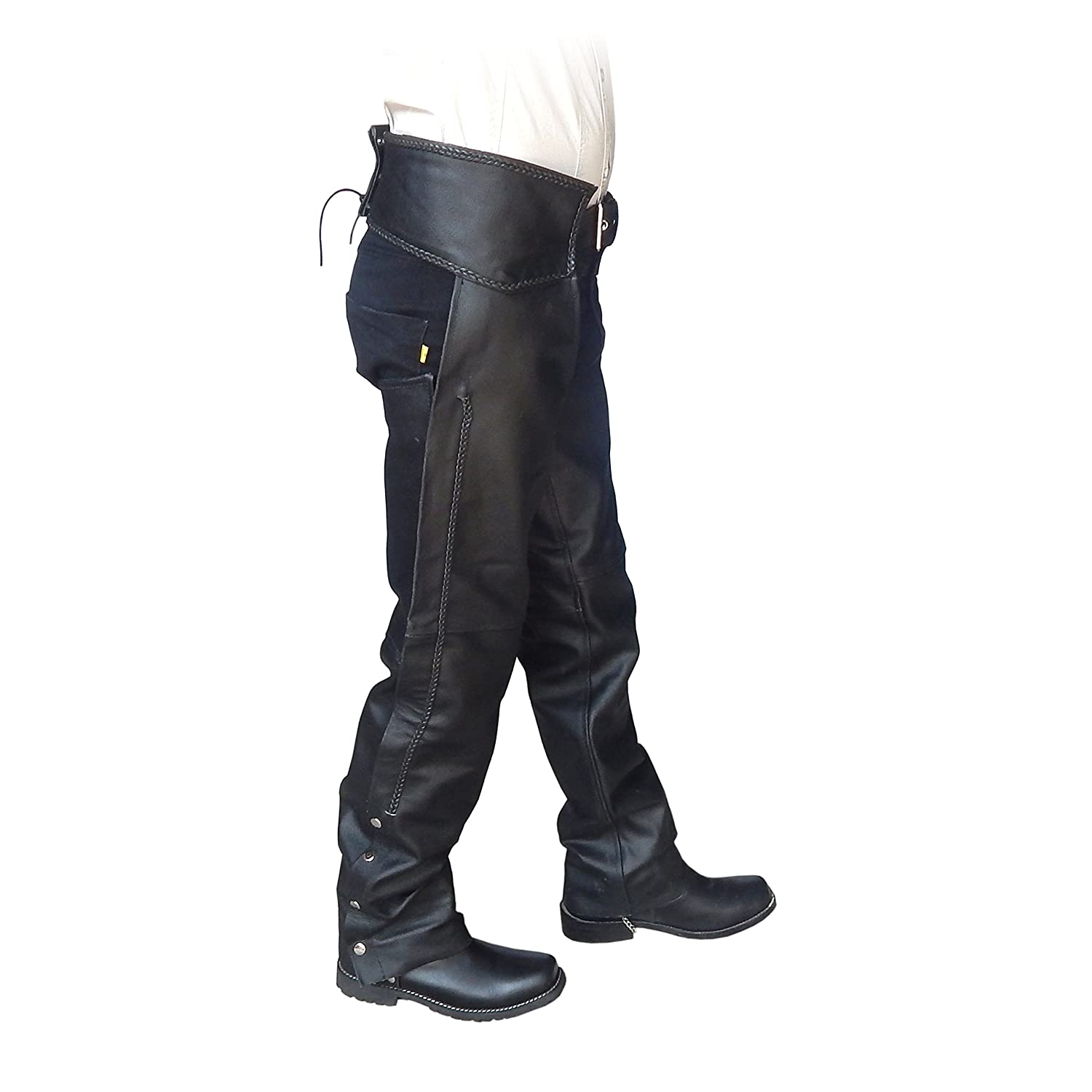4Fit Unisex Braided Black Leather Biker Motorcycle Chaps New All Sizes Small