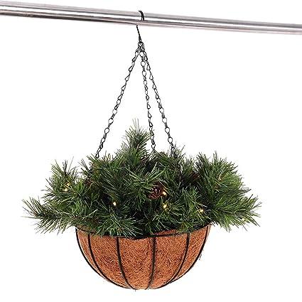 Outdoor Christmas Planters With Lights.Amazon Com Adumly Lifelike Hanging Christmas Planter Basket