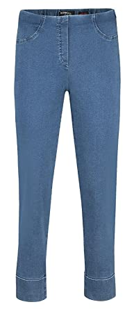 Robell Bella JEANS Denim Power Stretch Schlupfhosen Stretchhosen (36,  Mittelblau(64))