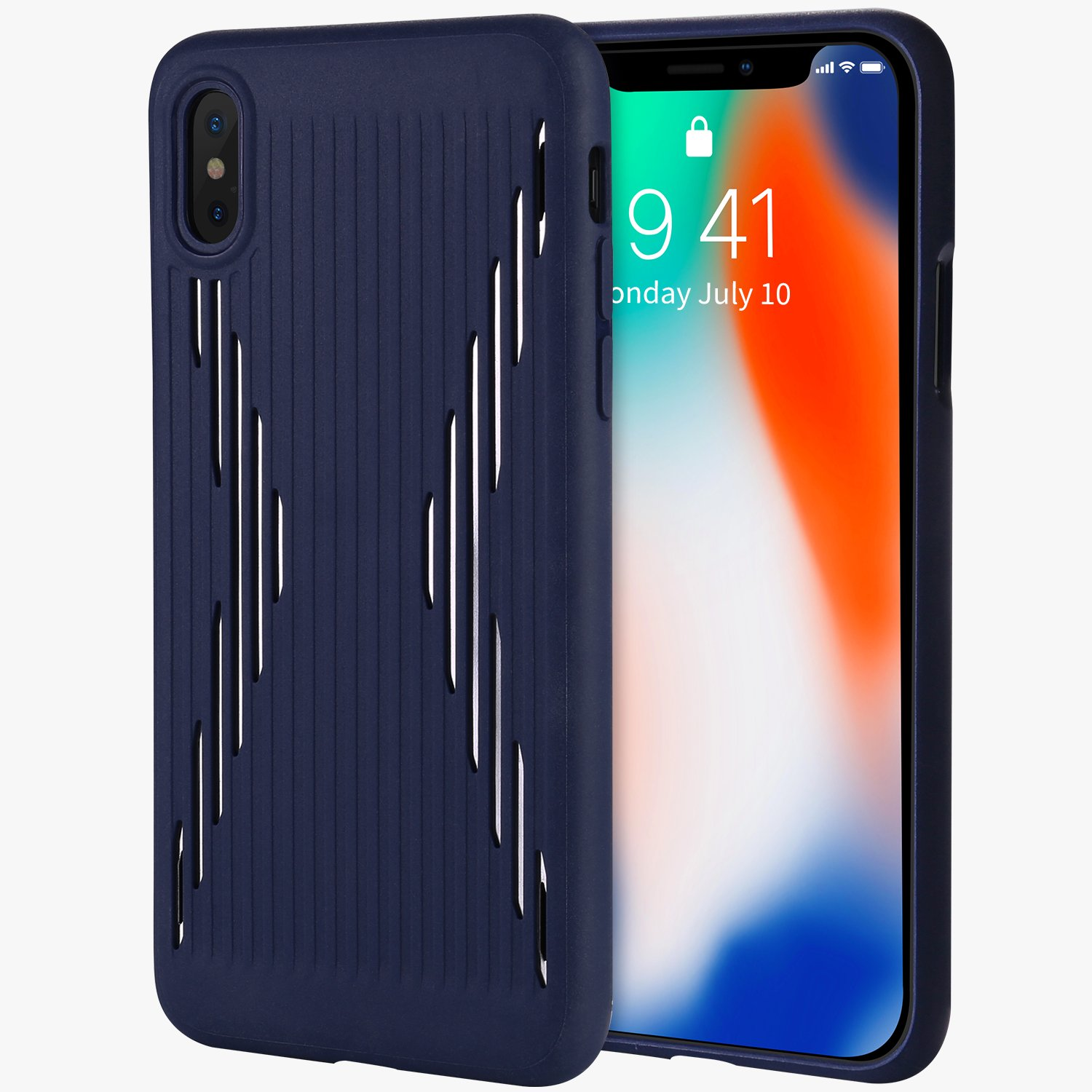 new concept f39d9 36193 iPhone X / 10 rubber case- silicone soft TPU hybred dual layer  shock-absorption anti-scratch slim case with metal sheet inside cover for  Apple iPhone ...