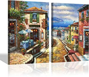 Mediterranean City Canvas Wall Art - European Hand Painted Cityscape Painting Abstract Canvas Art for Bedroom (24'' x 18'' x 2 Panels)