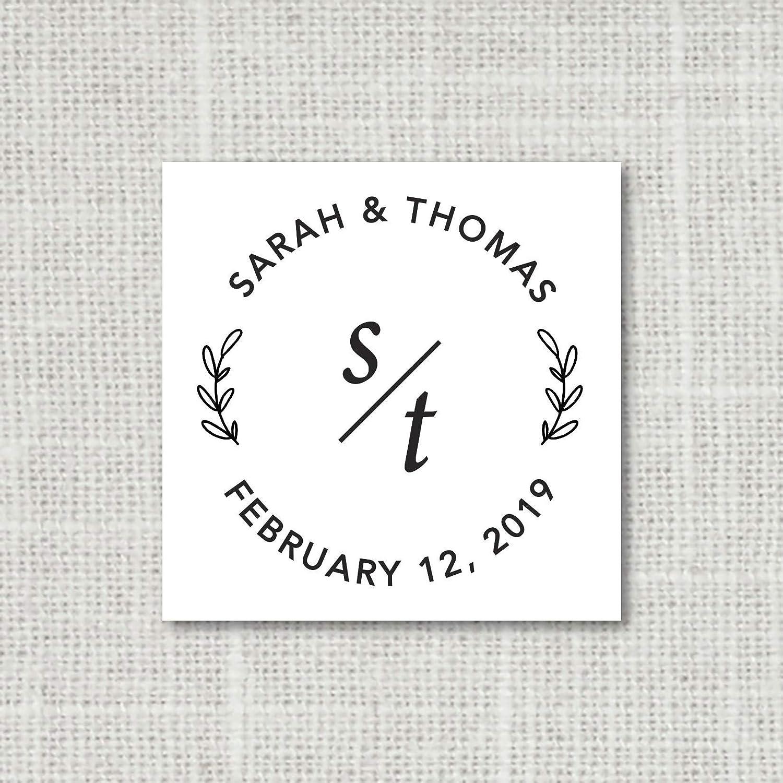 Monogram Wedding Stickers Modern Wedding Envelope Seals Floral Wedding Favor Stickers 16:38 Save the Date Stickers Envelope Seals