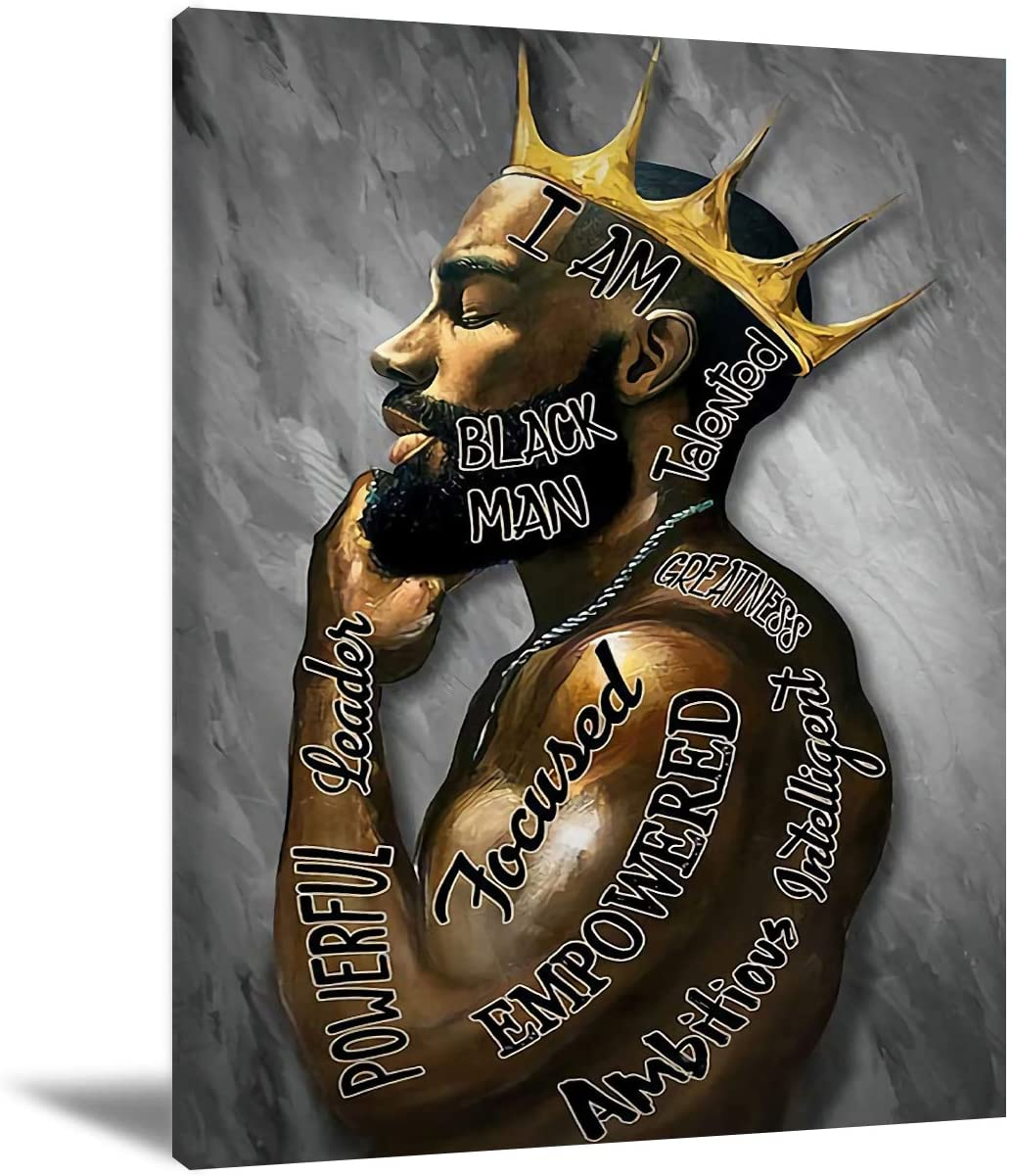 Black Men Wall Art African American Men Portrait Wall Art Black Men I Am Enough Art Afro King Poster Abstract Contemporary Canvas Prints Painting Home Decor For Bedroom Living Room 16X24 inch