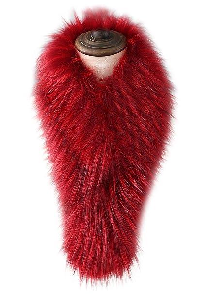 VEVESMUNDO Bufanda de Otoño Invierno de Piel Sintetica Mujer Estola del Cuello de Postizo Pelo Para