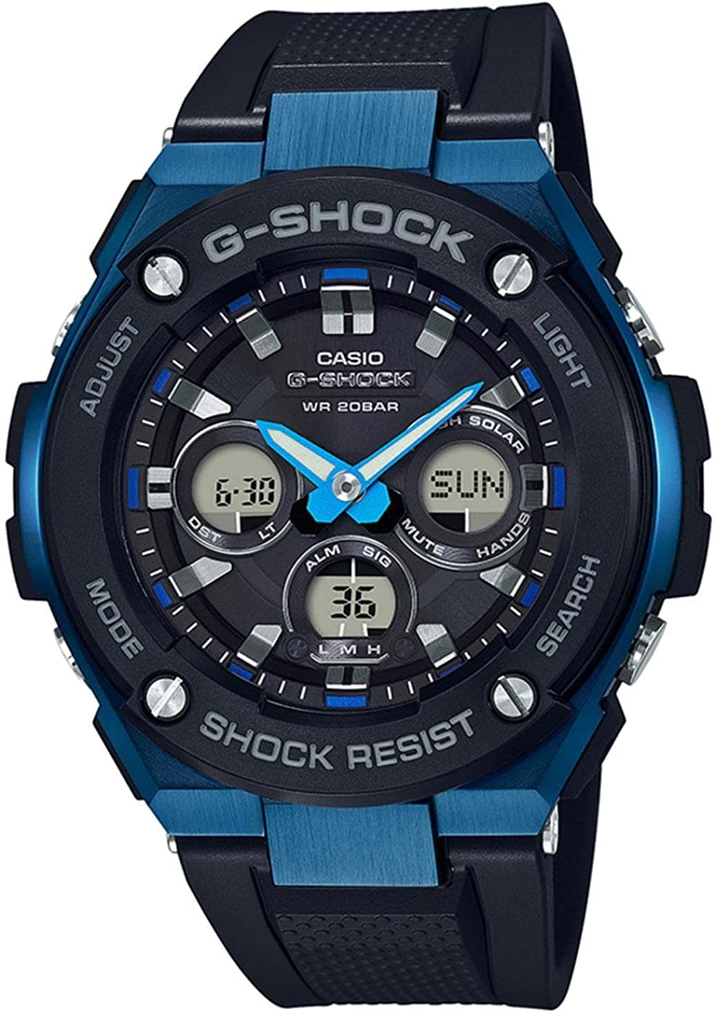 Casio G-Shock G-STEEL SLIM Mens Tough Solar Black Blue Watch GSTS300G-1A2