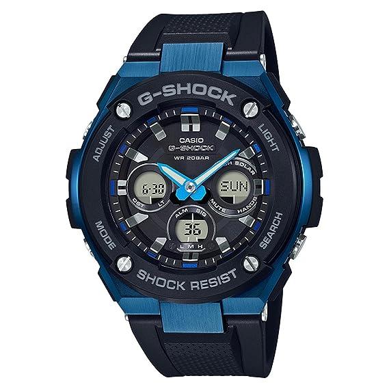 501872bd89c0 Amazon.com  Men s Casio G-Shock G-Steel Black and Blue Solar Resin Watch  GSTS300G-1A2  Casio  Watches