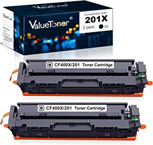 Valuetoner Compatible Toner Cartridge Replacement for HP 201X 201A CF400X CF401X CF402X CF403X CF400A for Color Laserjet Pro MFP M252dw M277c6 M277dw M277n M252n M277 High Yield (2 Black)