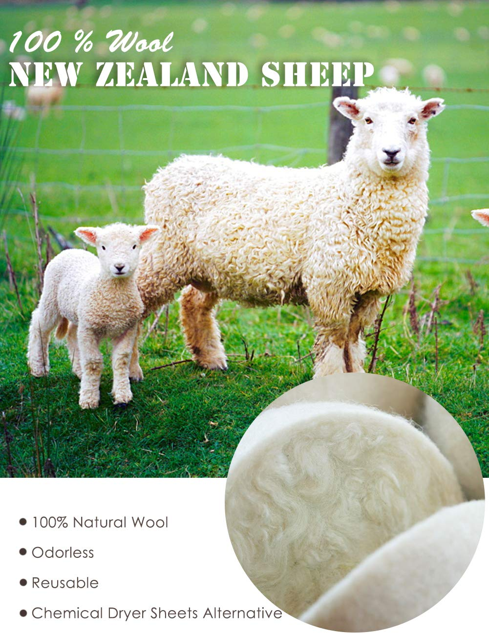 OHOCO Wool Dryer Balls 6 XL Pack from Organic Natural Wool for Laundry, Fabric Softening - Anti Static, Baby Safe, No Lint, Odorless and Reusable, Snowman
