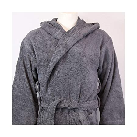 425fc0999b TowelsRus 100% Egyptian Cotton Hooded Unisex Dressing Gown Towelling Medium  Slate Grey Robe  Amazon.co.uk  Kitchen   Home