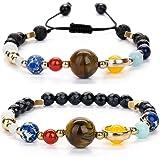 Joya Gift Guardian Bracelet Beaded Gemstone Solar System The Nine Planets Stone Bracelet for Women Men