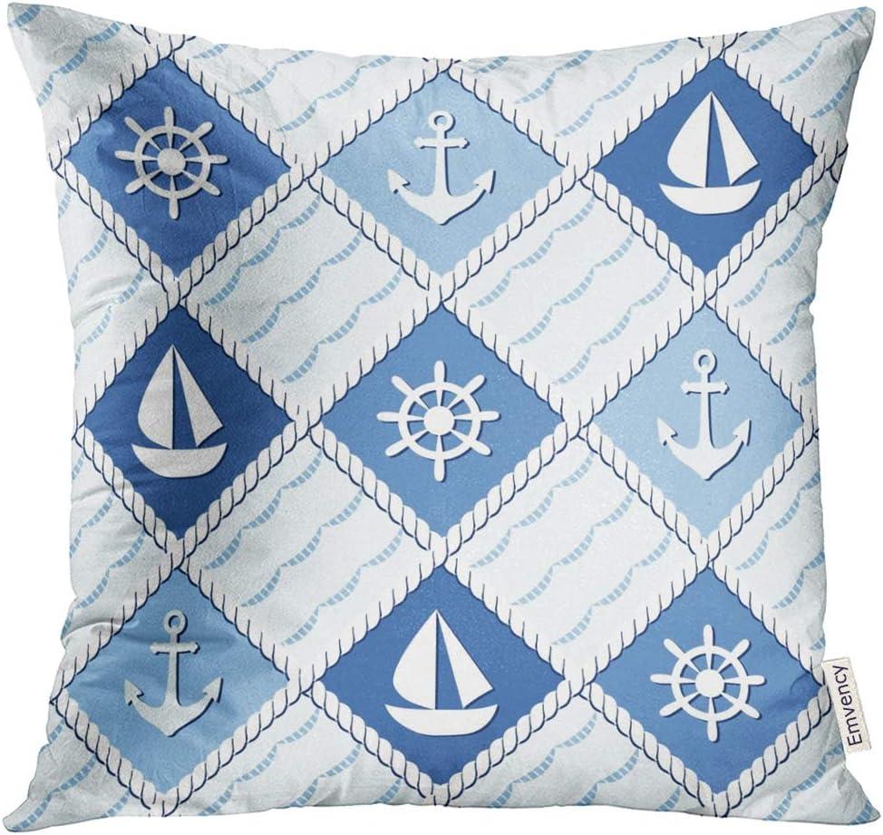 Fashion Marine Pillow Covers Coastal Decor Home Seal Blue Cushion Cover Anchor