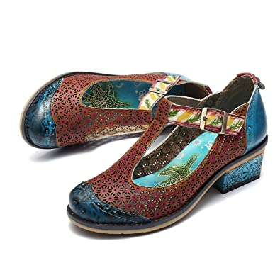 Camfosy Vintage Mary Jane Schuhe,Damen Leder Handgefertigte