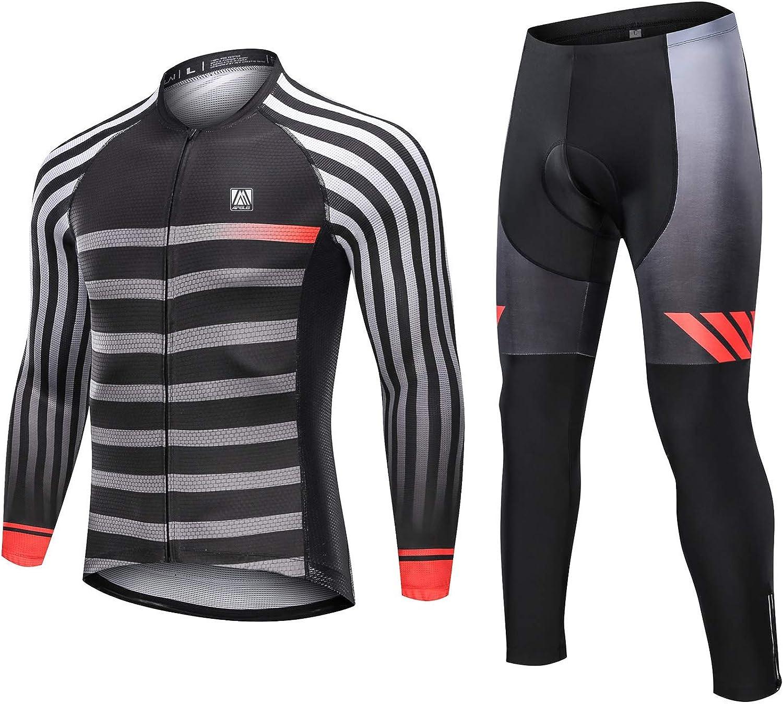 Mens Long Sleeve Cycling Clothing Set Bicycle Jersey Bib Pants Suit Bike Uniform