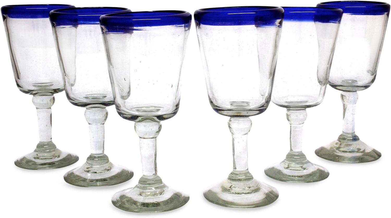 NOVICA Hand Blown Clear Cobalt Blue Rim Recycled Glass Wine Glasses, 8 Oz 'Chardonnay' (Set Of 6)