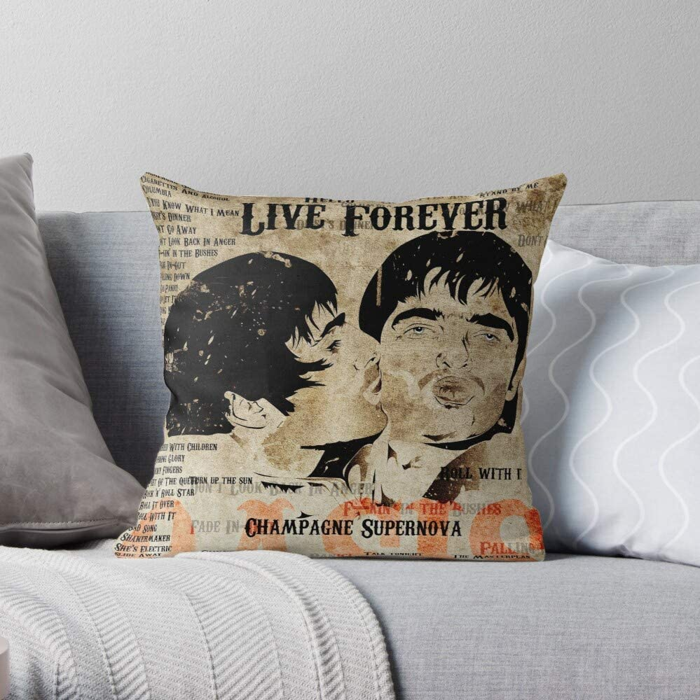 Pop Indie Music Manchester N Roll Art Oasis - - The Most Impressive Printed Square Throw Pillow case for Home and car Sofa Decoration Customize