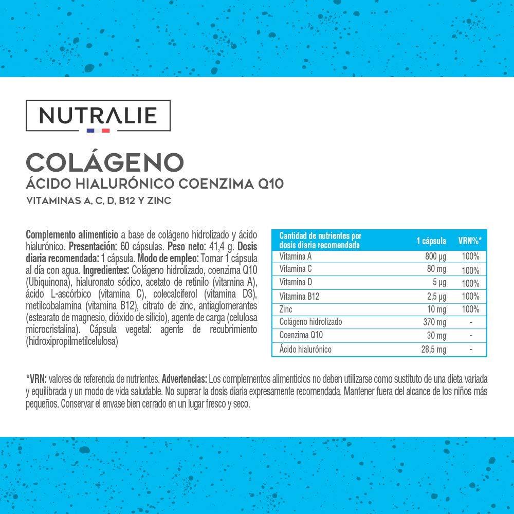 Colágeno + Ácido Hialurónico + Coenzima Q10 + Vitaminas A, C, D y B12 + Zinc | Energía y Articulaciones Fuertes | Colágeno Hidrolizado en 60 cápsulas ...