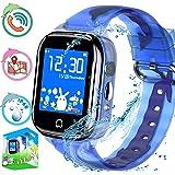 Reloj inteligente para niños con rastreador de GPS, teléfono para niños, niñas, niñas, pantalla táctil, tarjeta SIM…