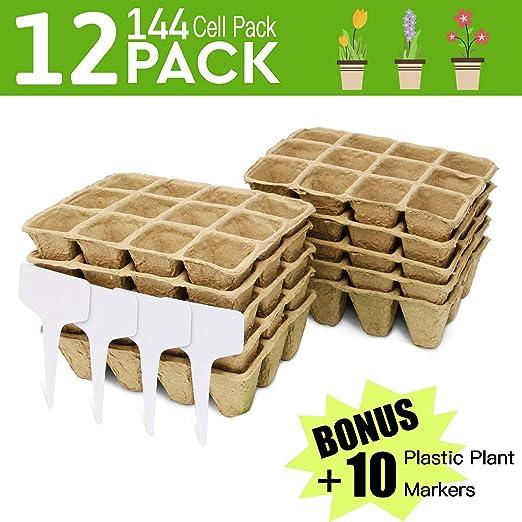 Bandejas para plantar semillas de Peat Pot | Kit de germinación de ...