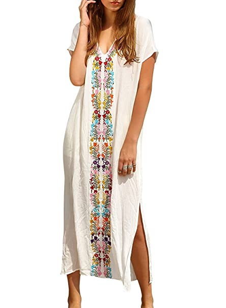 25f45d10b36 Women Embroidery Loose Boheme Slit Kaftans Maxi Beach V-Collar Dress Bikini Cover  Up (