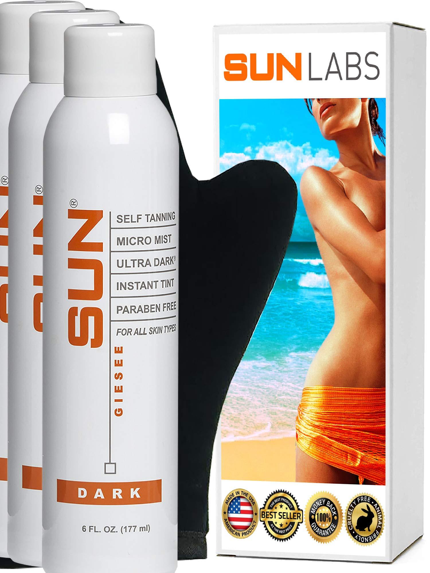 Spray Tan Organic Micro Mist Ultra Dark 6 oz (3 Pack)+ Tanning Mitt Natural Sunless Airbrush, Body and Face for Bronzing and Golden Tan - Dark Fake Tanning Airbrush (Packaging May Very)
