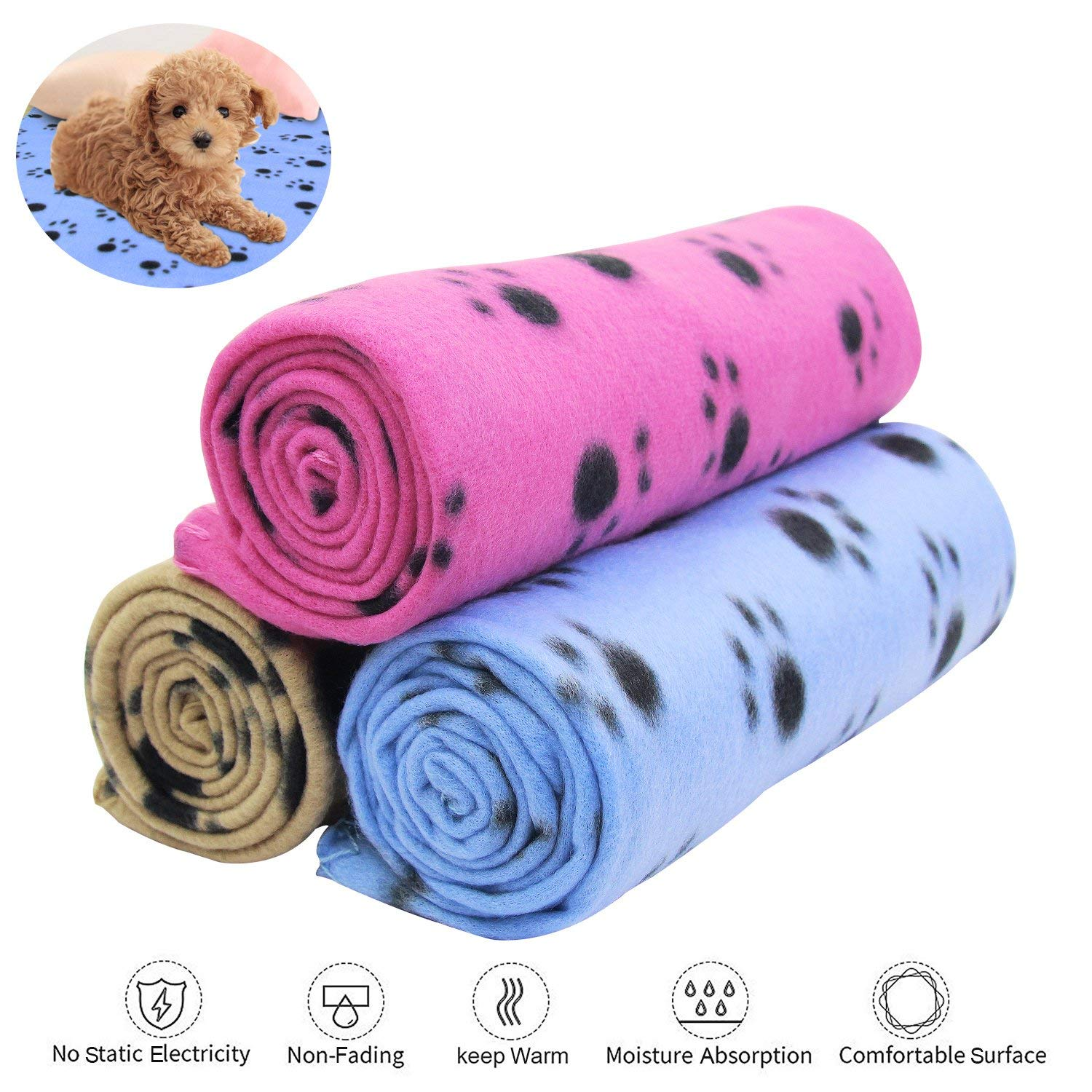 KYC 3 pack 40 x 28 '' Puppy Blanket Cushion Dog Cat Fleece Blankets Pet Sleep Mat Pad Bed Cover with Paw Print Kitten Soft Warm Blanket for Animals (Mixed A) by KYC (Image #9)