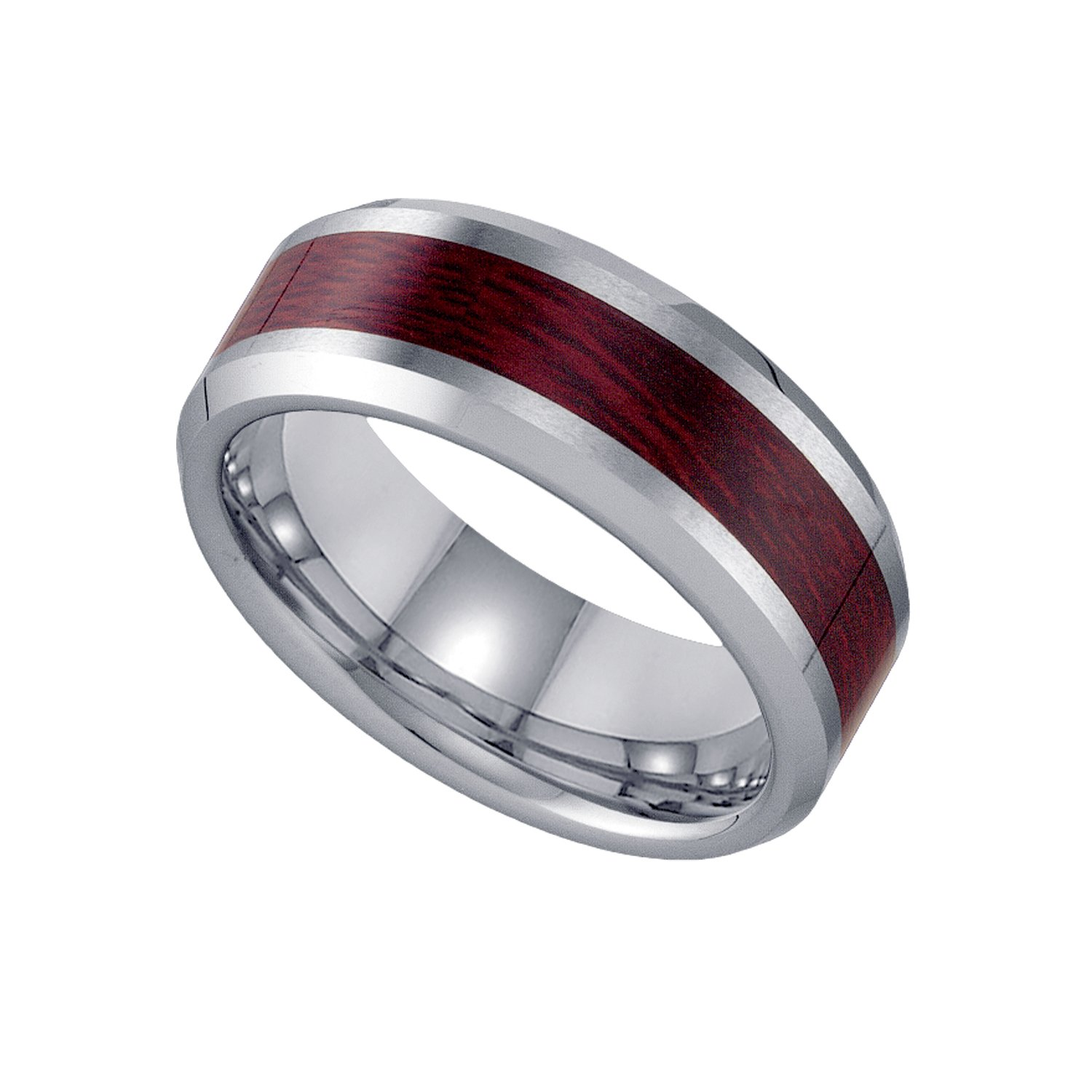Jewels By Lux Tungsten Wooden Inlay Beveled Edges Mens Comfort-fit 8mm Wedding Anniversary Band Ring - Size 9