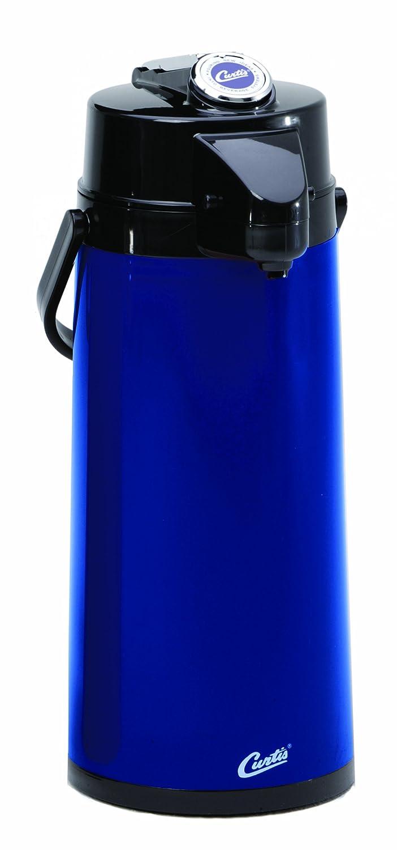 Wilbur Curtis Thermal Dispenser Air Pot, 2.2L Blue Body Glass Liner Lever Pump - Commercial Airpot Pourpot Beverage Dispenser - TLXA2204G000 (Each)