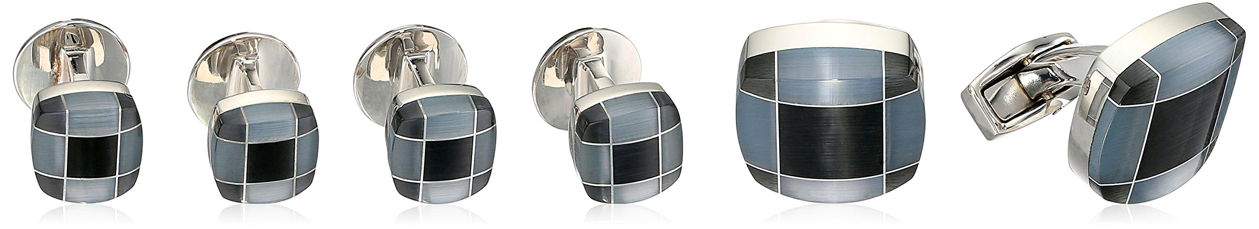Tateossian Rhodium Fiber Optic Glass Black Square Tarton Fusion Cuff Shirt Stud