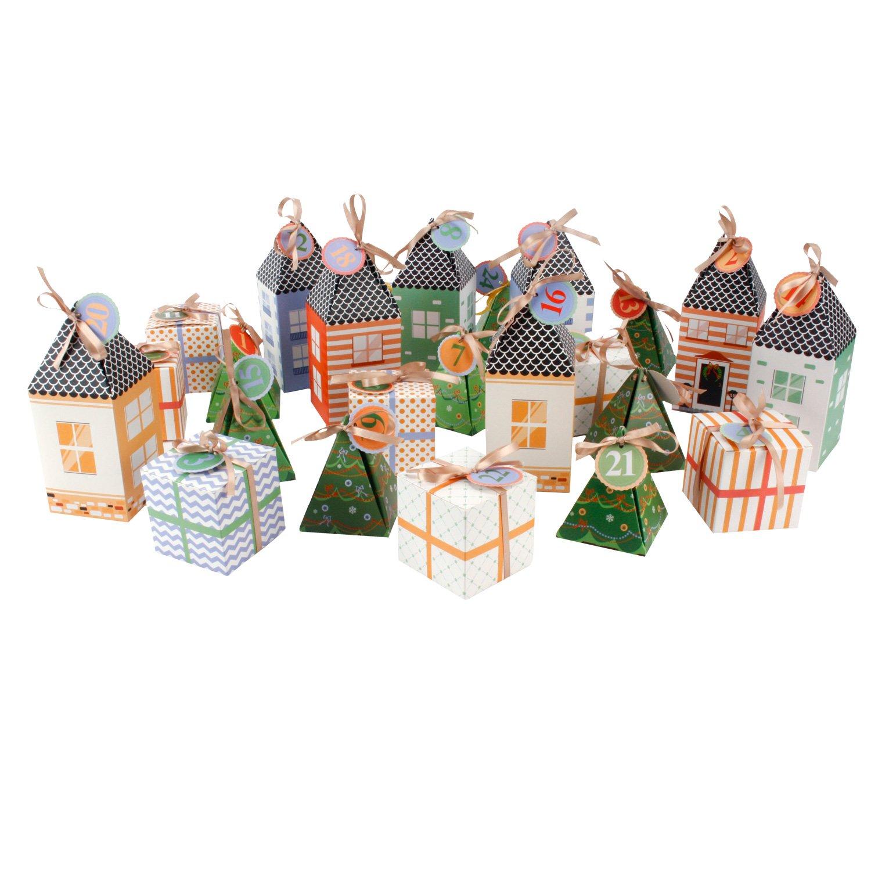 Adventskalender Kalender Kalenderdorf Dorf zum Selbstbefüllen für 24 kleine Geschenke Roomando