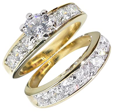 Ah! Jewellery. 1.75ct Women's fantastic 6mm Simulated Diamonds 2pcs ring set. Outstanding quality. W8nO5rYIQ