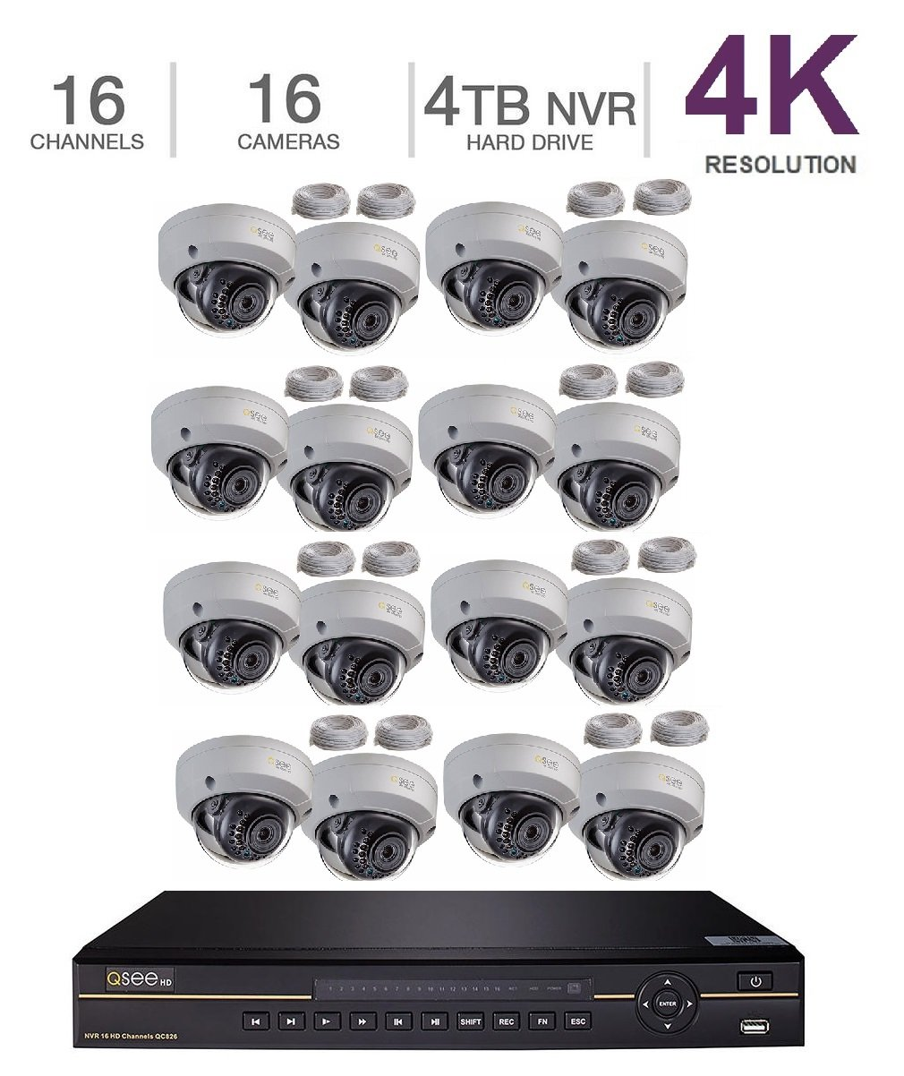 Q-See 4K 8MP 16 Dome Cameras 16-Channel NVR Ultra HD QC IP Series Surveillance with H.265 and 4TB HDD (QC826-4 +16x QCN8096D) by Q-See