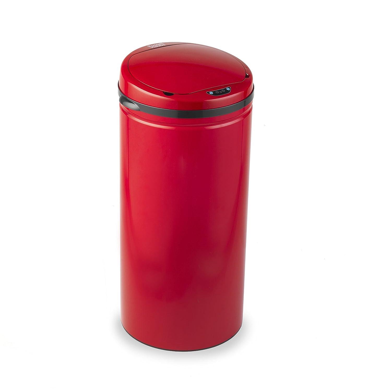 Russell Hobbs, (BW04512 bidone per la spazzatura da cucina, pattumiera, 30 l, rotondo, mani libere con sensore di movimento, colore nero, metallo, Red, 30 litri BW04512R