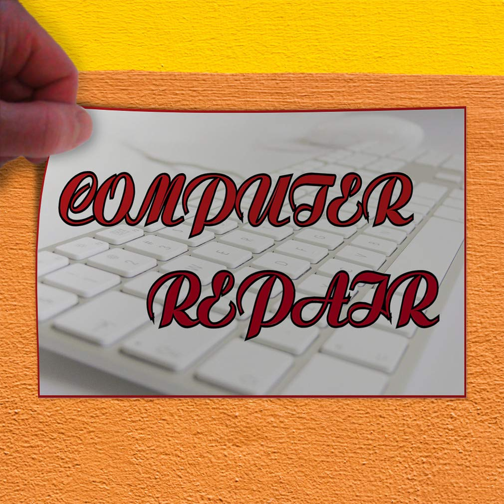 Decal Sticker Multiple Sizes Computer Repair White Red Computers /& Communication Fix Computers Outdoor Store Sign White 54inx36in Set of 2