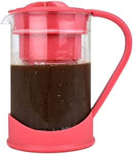 COLD BREW COFFEE MAKER By Spigo 1 Liter (4-Cups) Capacity, Great For Flavorful Iced Coffee That Stays Fresh Longer, Borosilicate Glass, Easy Cleaning, Fun Ideas and Recipe Booklet, 8x5 Inches, Red