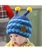 Hot Sale! Winter Knit Hats Baby Boy Girl Cute Star Double Ball Cap Warm Ear Protection Toddler Infant Caps