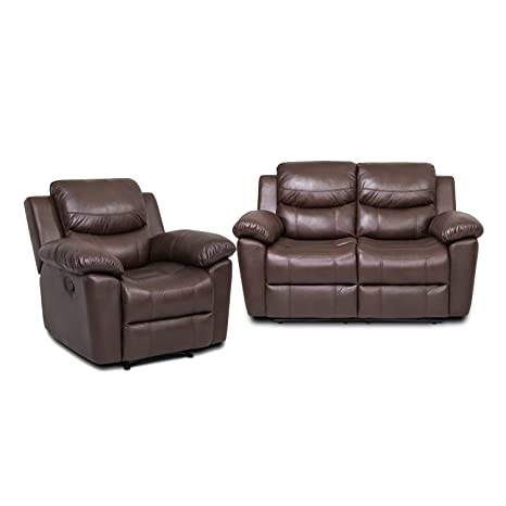 Pleasant Juntoso 2 Sets Recliner Single Sofa And Loveseat Bonded Leather Sofa Living Room Lounge Chair Double Recliner Couch Chocolate Andrewgaddart Wooden Chair Designs For Living Room Andrewgaddartcom