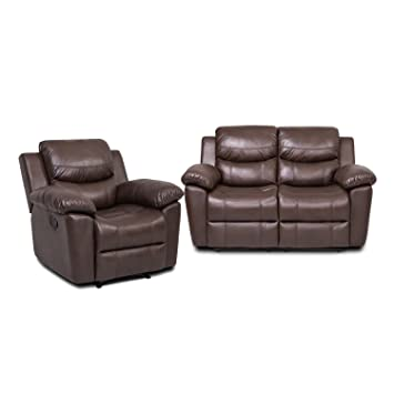 JUNTOSO 2 Sets Massage Recliner Single Sofa And Loveseat Air Leather Sofa  For Living Room Lounge