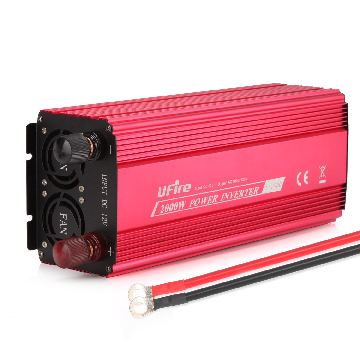 UFire 2000W Power Inverter DC 12V To 110V AC Car Converter With 2 AC Outlets 2A USB Car Adapter -Red