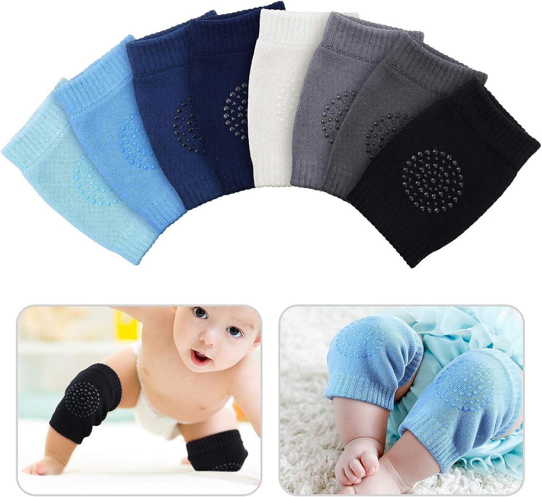 8 Pairs Unisex Baby Crawling Anti-Slip Knee Pads Toddler Knee Protectors Learn to Crawl Socks Leg Warmers