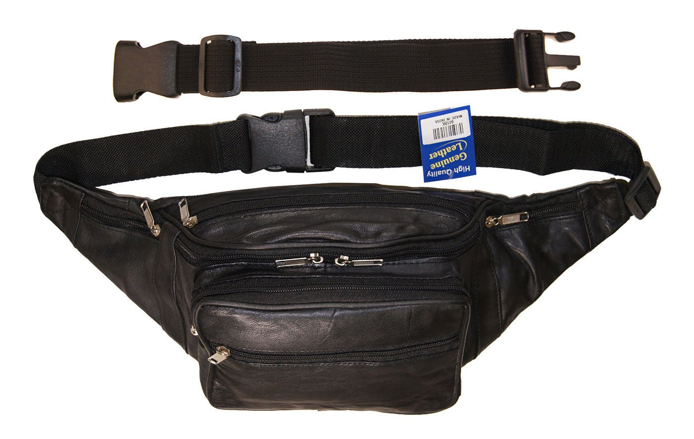 Genuine Leather Jumbo Sized Seven Zippered Pouch Fanny Pack With 18'' Extension