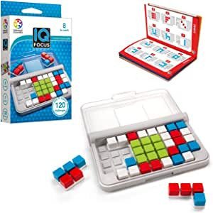 SmartGames IQ Focus Cognitive Skill-Building Travel Game with Portable Case Featuring 120 Challenges for Ages 8 - Adult