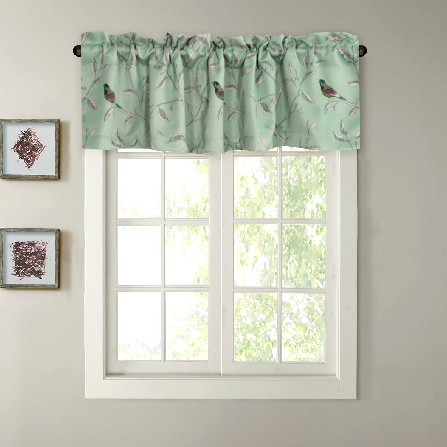 "H.VERSAILTEX Blackout Kitchen Bath Laundry Bedroom Living Room with Rod Pocket Top Window Curtain Valances - Sage Green with Turquoise Birds - 58"" W x 15"" L (1 Piece)"