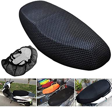 uxcell Black Mesh Seat Cover Elastic Breathable Saddle Protector for Motorcycle