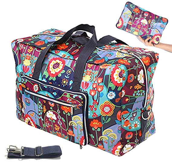 aa7bcb7083 Womens Foldable Travel Duffel Bag 50L Large Cute Floral Travel Bag  Weekender Overnight Carry On Bag Checked Luggage Tote Bag For Girls Kids