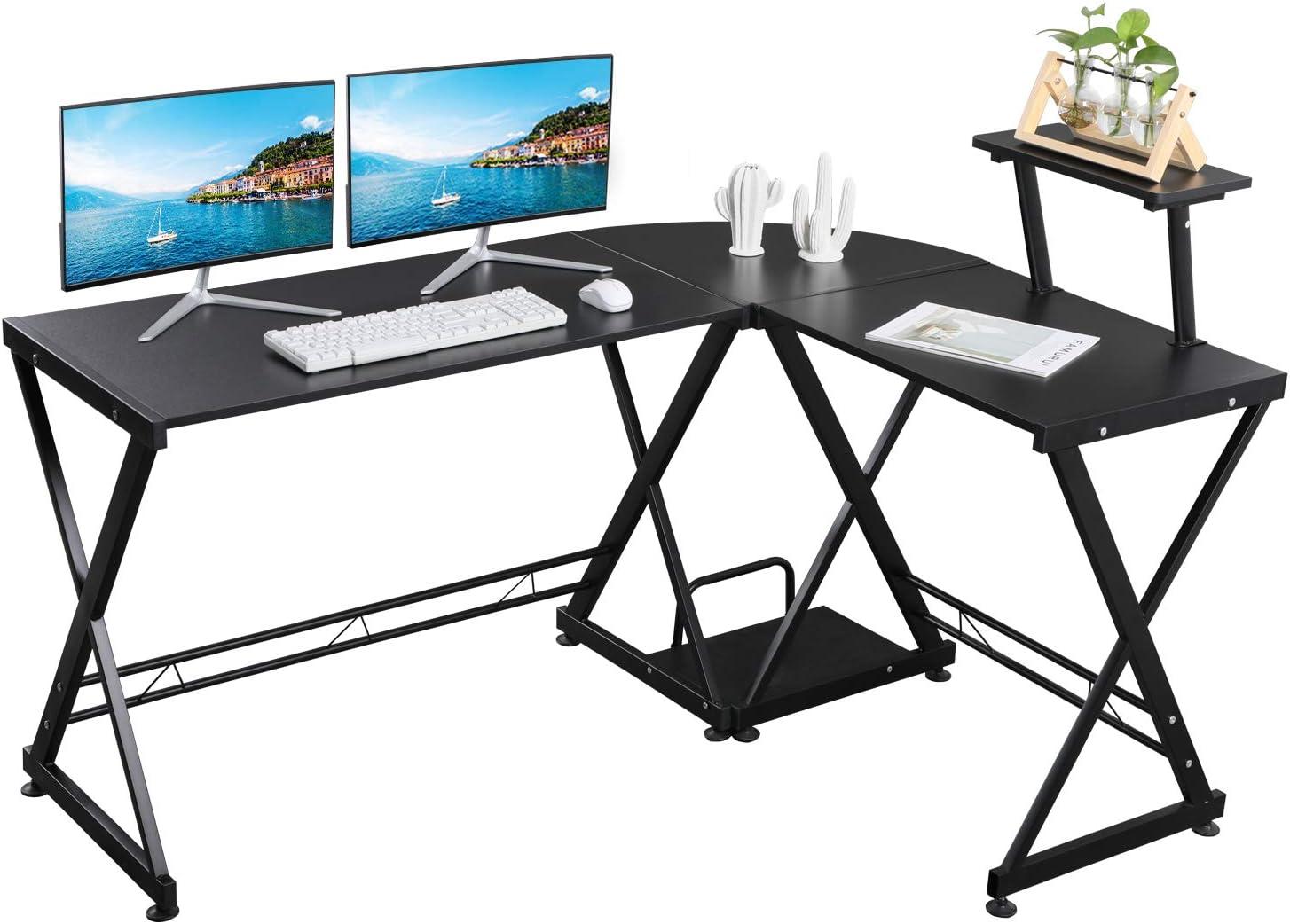 GreenForest L Shaped Office Computer Corner Desk with Storage Shelf PC Table Workstation for Home Office, Black