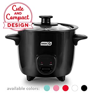 Dash DRCM200BK Mini Rice Cooker Steamer with Removable Nonstick Pot, Keep Warm Function & Recipe Guide Black