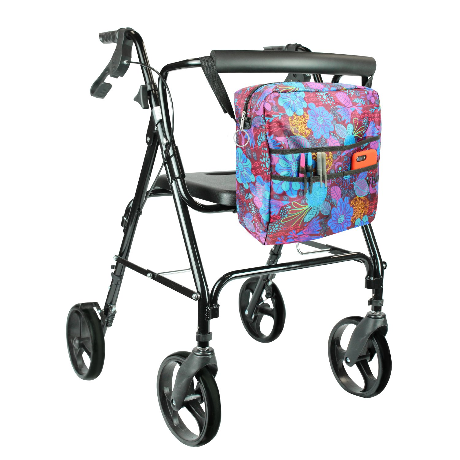 Rollator Bag by Vive - Universal Travel Tote for Carrying Accessories on Wheelchair, Rollator, Rolling Walkers & Transport Chairs - Lightweight Handicap Medical Mobility Aid, Purple Floral