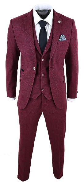 1d5f480256 Abito Elegante 3 Pezzi da Uomo Completo Vintage in Tweed Bordeaux a Scacchi  bordeaux: Amazon.it: Abbigliamento