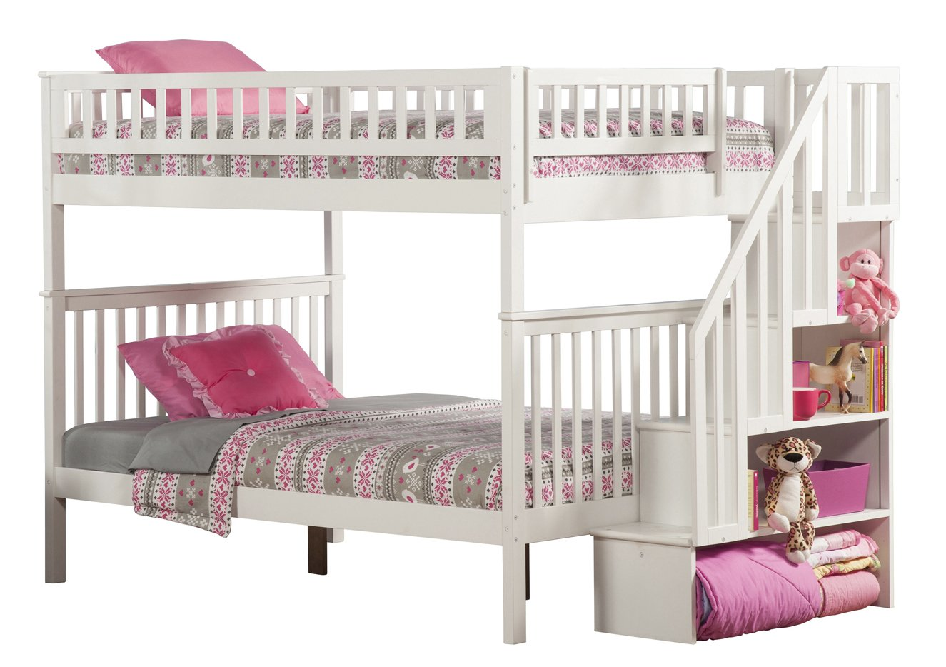 Woodland Staircase Bunk Bed, White, Full Over Full